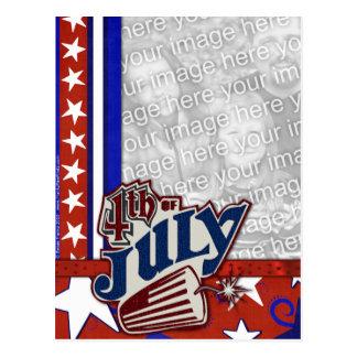 Carte Postale 4 juillet pétard - VOTRE PHOTO insérée