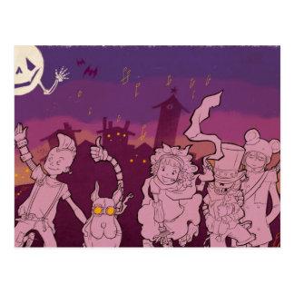 Carte Postale 4 petits monstres - musique de nuit