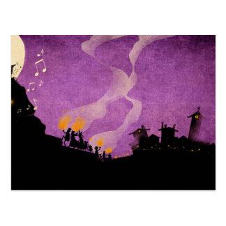 Carte Postale 4 petits monstres - nuit de Halloween