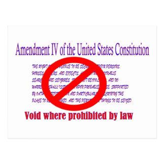 Carte Postale 4ème amendement - vide où interdit par loi