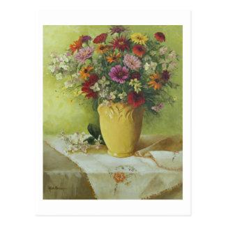 Carte Postale 6021 Zinnias dans le vase jaune à McCoy