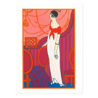 Carte postale 7 d'art déco dans la couleur rouge