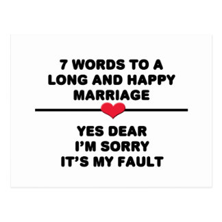 Carte Postale 7 mots pour un long et heureux mariage