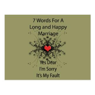 Carte Postale 7 mots pour un long mariage