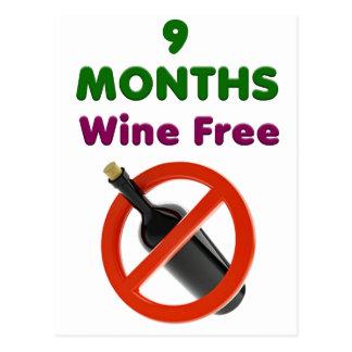 Carte Postale 9 mois de vin libèrent, maman enceinte, cadeau de