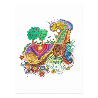 Carte Postale A, initiale, monogramme, épousant