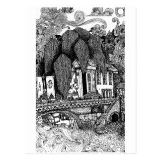 Carte postale à l'encre d'illustration de temple