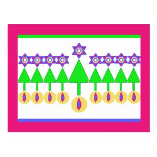 Carte postale à l'envers de Hanoukka de Noël