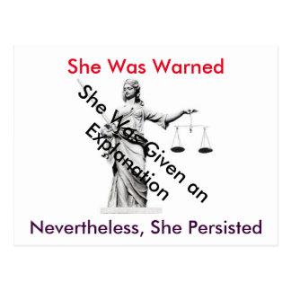 Carte postale à Madame Justice de la Maison