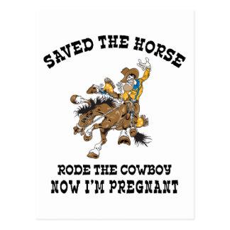Carte Postale A sauvé le cheval est monté le cowboy enceinte