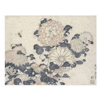 Carte Postale Abeille et chrysanthèmes