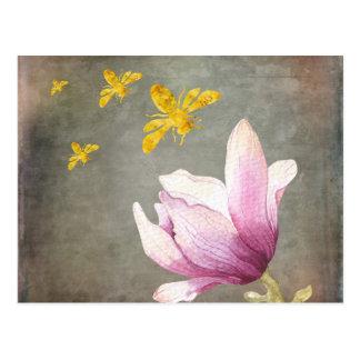Carte Postale Abeilles de fleur et d'or d'aquarelle