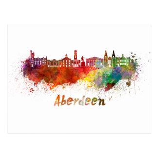 Carte Postale Aberdeen skyline in watercolor