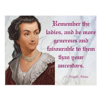 Carte Postale Abigaïl Adams - rappelez-vous les dames