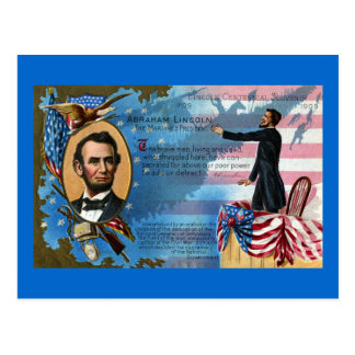 Carte Postale Abraham Lincoln donnant l'adresse de Gettysburg