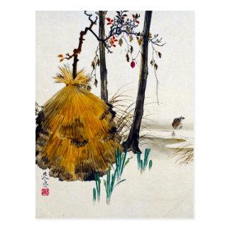 Carte Postale Abri de neige de Shibata Zeshin pour un arbre avec
