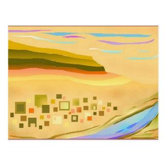 Carte postale abstraite d'art de paysage de désert