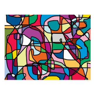 Carte postale abstraite de griffonnage de couleurs