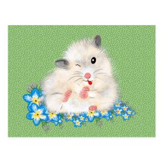 Carte Postale Accessoires syriens blancs mignons de hamster,