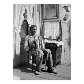 Carte Postale Accordéon Player, 1941 d'Afro-américain
