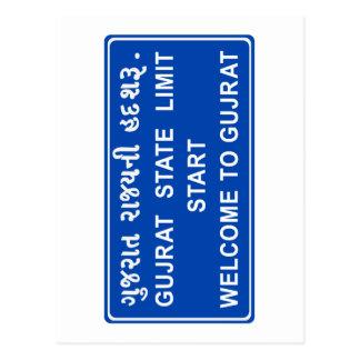 Carte Postale Accueil vers le Goudjerate, panneau routier, Inde