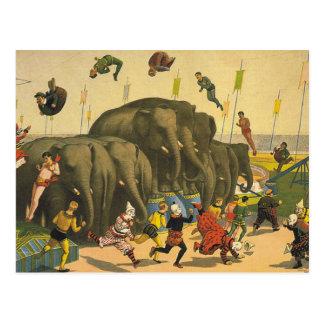 Carte Postale Acrobates d'éléphant de PIÈCE EN T