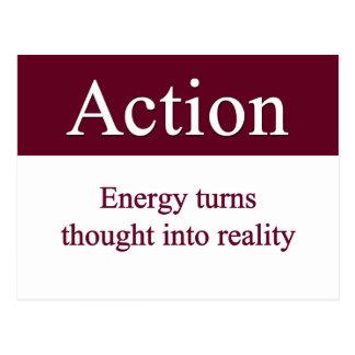 Carte Postale Action - l'énergie transforme la pensée en réalité