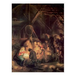 Carte Postale Adoration de Rembrandt des bergers