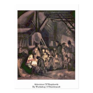 Carte Postale Adoration des bergers par l'atelier de Rembrandt