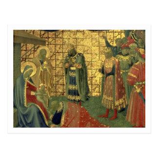 Carte Postale Adoration des Magi, détail d'un carreau de