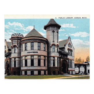 Carte Postale Adrian, Michigan, bibliothèque de Carnegie, cru