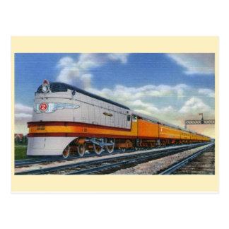 Carte postale aérodynamique de locomotive à vapeur