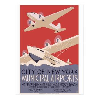 Carte Postale Aéroports de Municipal de New York City