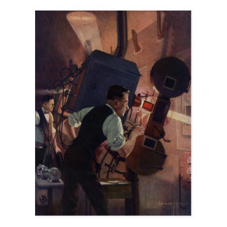 Carte Postale Affaires vintages, projectionniste de salle de