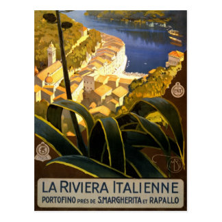 Carte Postale Affiche 1920 de voyage de la Riviera Italienne