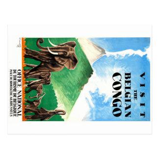 Carte Postale Affiche 1939 de voyage d'éléphants du Congo belge