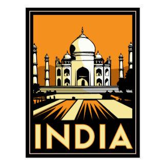 Carte Postale affiche d'art déco du Taj Mahal Inde rétro