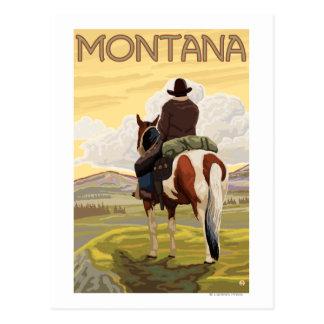 Carte Postale Affiche de cowboy et de voyage de