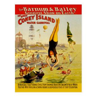 Carte Postale Affiche de numéro de cirque de Coney Island