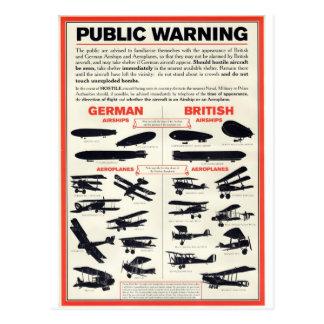 Carte Postale Affiche de reconnaissance des avions WW1