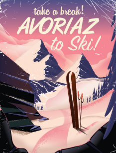 Carte Postale Affiche De Voyage Ski DAvoriaz France