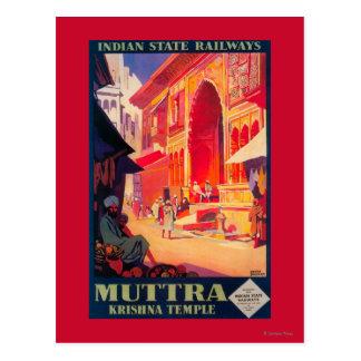 Carte Postale Affiche de voyage de temple de Muttra Krishna