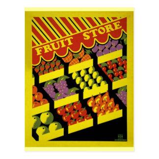 Carte Postale Affiche de WPA de magasin de fruit -