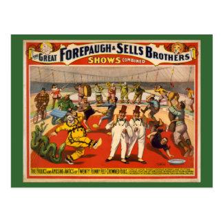 Carte Postale Affiche Feutre-Couronnée drôle de cirque de vingt