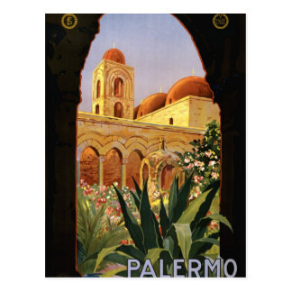Carte Postale Affiche italienne de voyage de Palerme Sicile