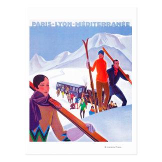 Carte Postale Affiche promotionnelle ferroviaire de PLM