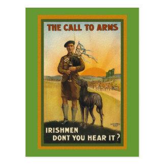Carte Postale Affiche recruteuse irlandaise de WWI