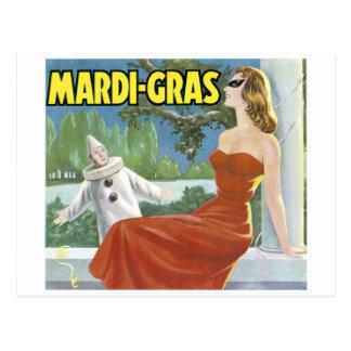 CARTE POSTALE AFFICHE VINTAGE D'ART DE MARDI GRAS