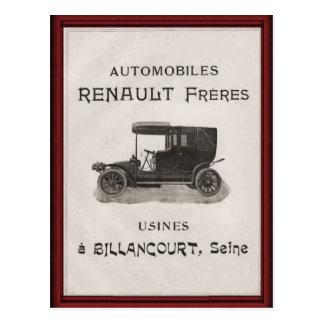 Carte Postale Affiche vintage d'automobile de Renault