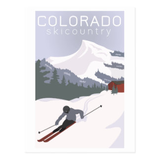 Carte Postale Affiche vintage de ski